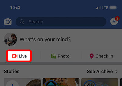 Live icon on Facebook app