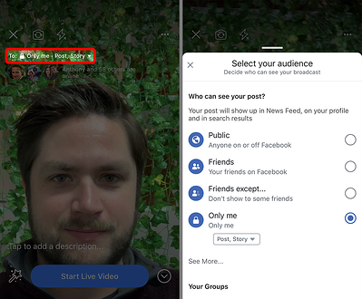 Choosing who sees your Facebook Live video