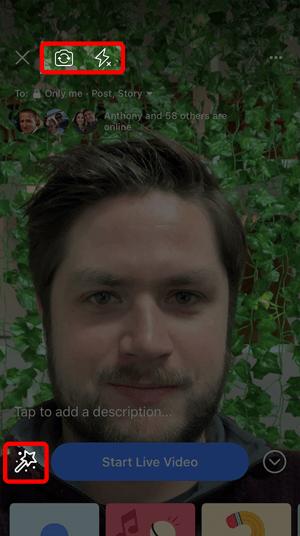 Adjusting camera settings in Facebook Live