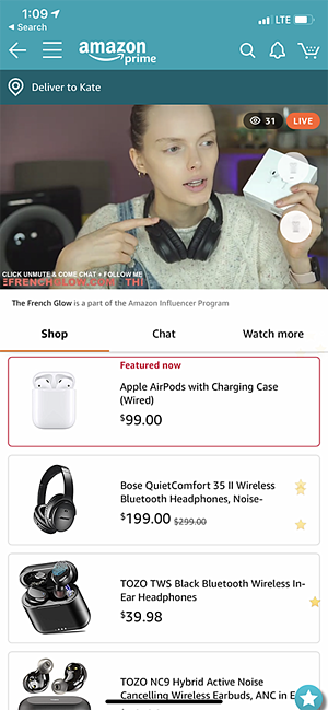 Amazon Live on mobile