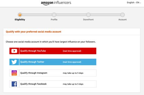 Applying for Amazon Influencer Program