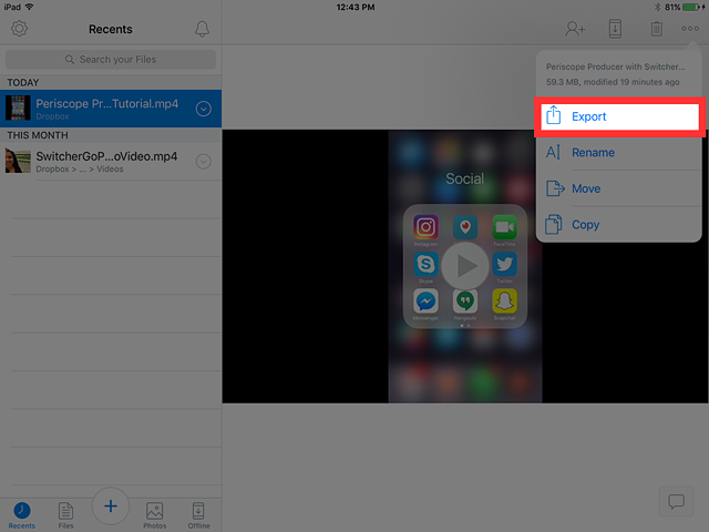 Export video from dropbox to camera roll