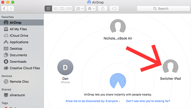 AirDrop Find your device