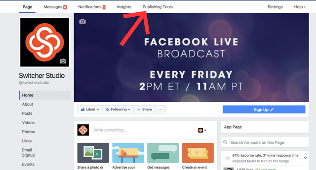 Publishing Tools Facebook Live