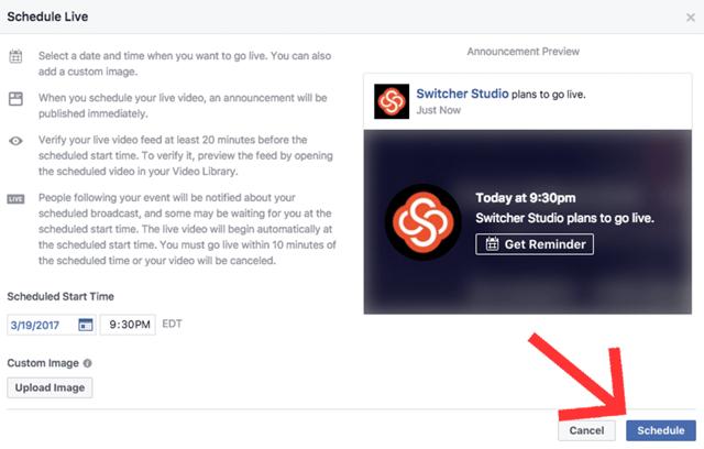 Schedule Facebook Live Broadcast