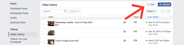 Live Button Scheduling Facebook Live
