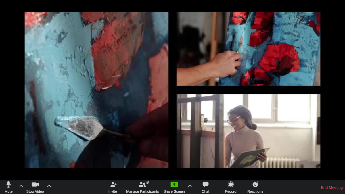 Switcher Studio multicamera, multisource online painting class on Zoom