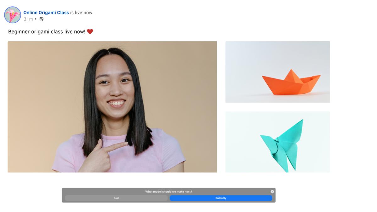 Switcher Studio polls for online Facebook origami class