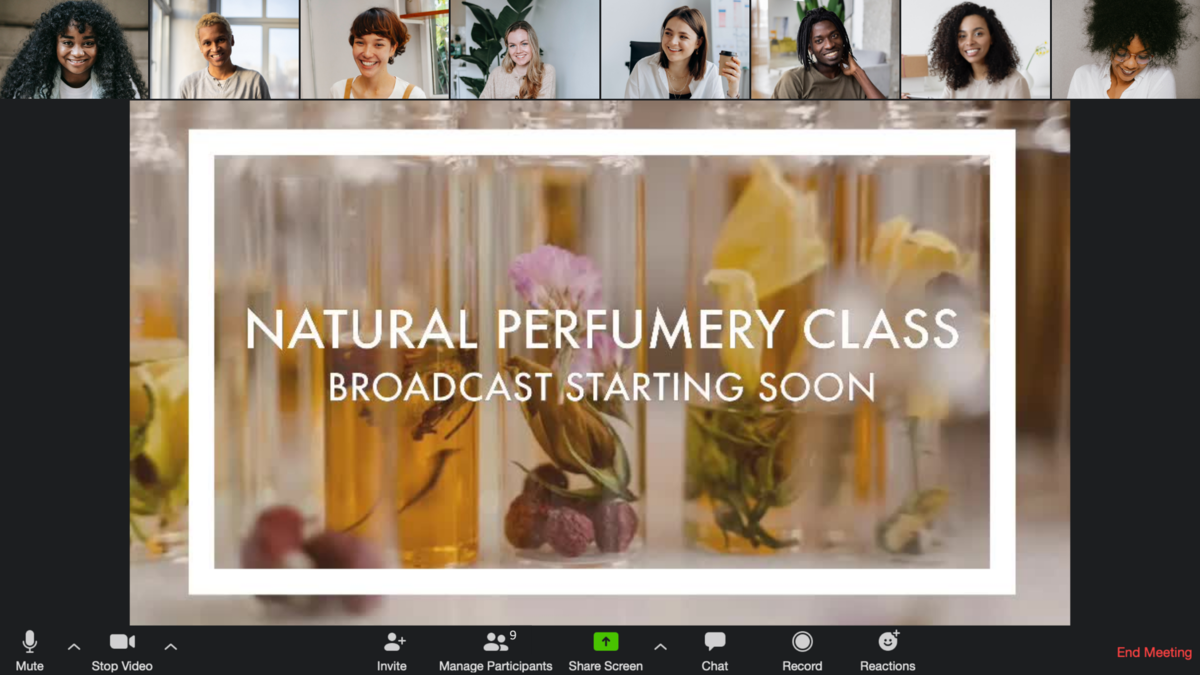 Online virtual perfumery class on zoom for corporate event