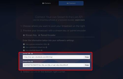 Getting your server URL and stream key from Facebook Live