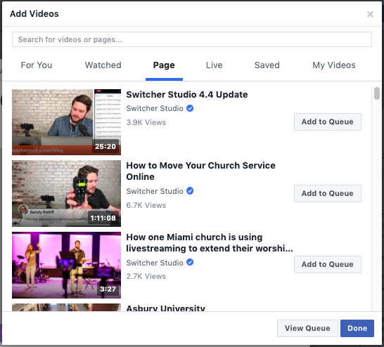 Choosing a video for a Facebook Watch Party