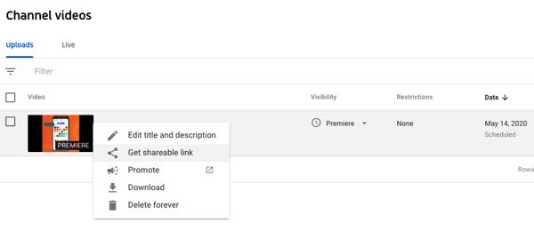 Finding YouTube Premiere URL