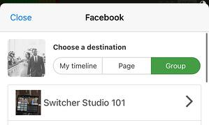 Choosing FB group destination