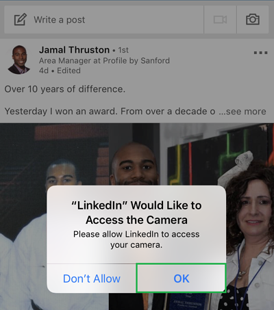 Letting LinkedIn access your camera