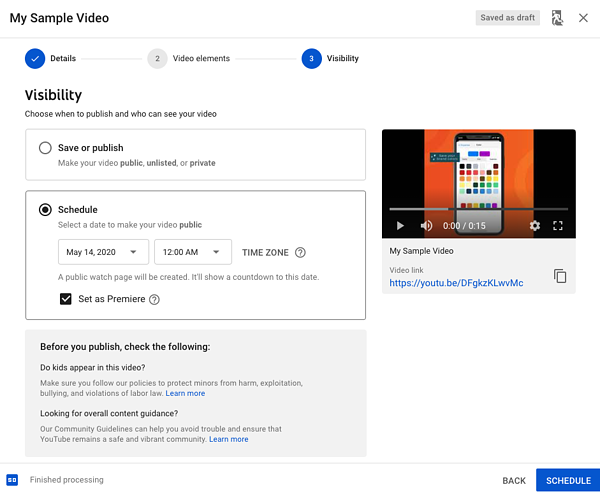 How to schedule a YouTube Premiere