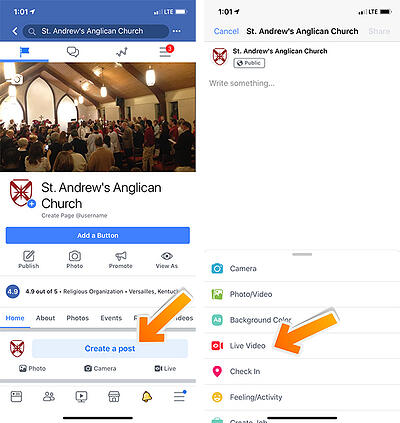 Church livestreaming to Facebook