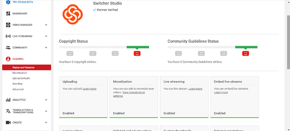 Channel tab of YouTube Studio